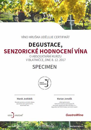 Certifikát kurzu Degustace, senzorické hodnocení vína