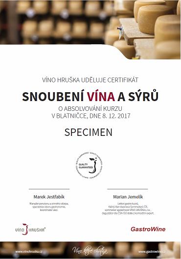 Certifikát kurzu Snoubení Vína a sýrů