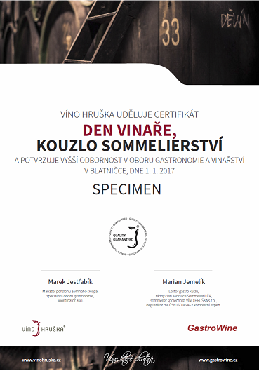 Certifikát kurzu Den vinaře, kouzlo sommeliérství