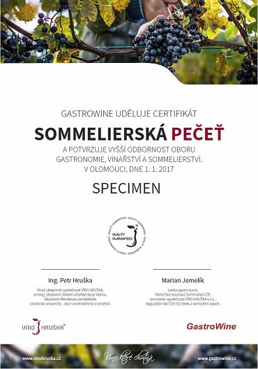 Certifikát kurzu Sommelierská pečeť